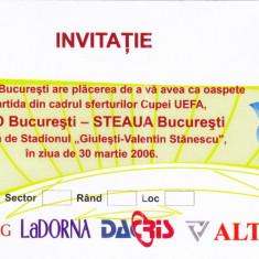 Invitatie fotbal RAPID BUCURESTI-STEAUA (30.03.2006 sferturi Cupa UEFA) - Bilet meci