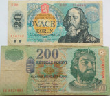 Lot/Set 2 Bancnote Diferite UNGARIA + CEHOSLOVACIA *Cod 474
