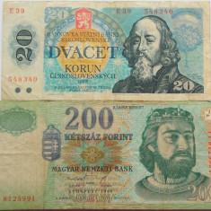 Lot/Set 2 Bancnote Diferite UNGARIA + CEHOSLOVACIA *Cod 474 - bancnota europa, An: 1988