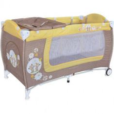 Pat Pliant Danny cu 2 Nivele Beige Yellow Daisy Bears - Patut pliant bebelusi