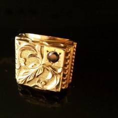 Ghiul 18K, 18, 5 grame, cu diamant negru - Inel placate cu aur Fossil
