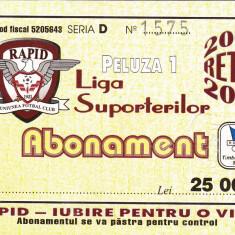 Abonament fotbal - RAPID BUCURESTI (retur 2000/2001) - Bilet meci