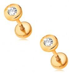 Cercei din aur 585 - forma rotunda cu un zirconiu transparent in montura - Cercei aur