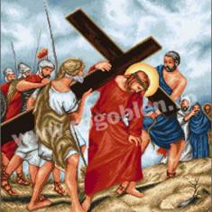 Patimile lui Iisus - goblen cu diagrama alb/negru - Broderie