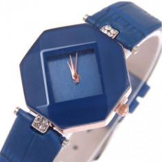 Ceas de dama casual, fashion cu cadran albastru si curea piele eco - Ceas dama Geneva, Quartz, Inox, Piele ecologica, Analog