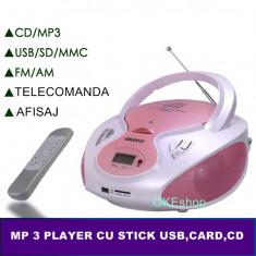 LICHIDARE STOC! COMBINA AUDIO CU MP3 STICK USB, CARD, CD MP3, TELECOMANDA, AFISAJ., Mini-sistem, 0-40 W