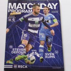 Program meci fotbal ANDERLECHT - KAA GENT 01.05.2016 (contine si poster)