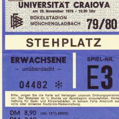 Bilet meci fotbal BORUSSIA Mönchengladbach-UNIVERSITATEA CRAIOVA 28.11.1979