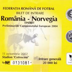 Bilet meci fotbal ROMANIA - NORVEGIA (11.10.2002- selectionate tineret)