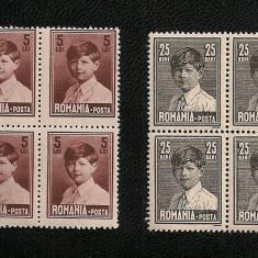 Lp 77a / Lp 77g - Mihai I, 25 bani / 5 lei - format mare - 4 blocuri de 4 - Timbre Romania, An: 1928, Nestampilat