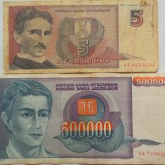 Lot/Set 2 Bancnote Diferite YUGOSLAVIA 1993-1994 *Cod 470 - bancnota europa