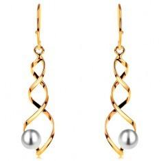 Cercei din aur 585 - forma spirala stralucitoare cu perla rotunda, alba, cu tortite - Cercei aur