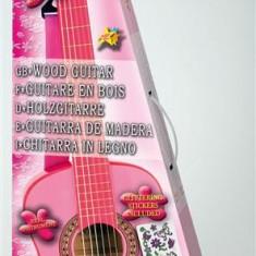 Chitara Din Lemn 75 Cm Roz Cu Stickere - Jocuri Logica si inteligenta