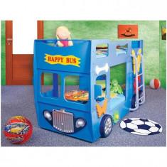 Patut In Forma De Masina Happy Bus - Plastiko - Albastru
