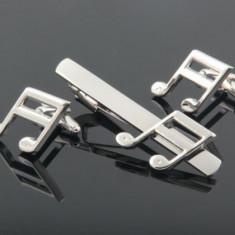 Set Butoni si Ac cravata tema muzicala argintii metalici +ambalaj  cadou, Inox