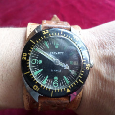 URSS-RARE-1MChZ-Poljot-MILITAR-automat-ceas de mana-URSS-1970 amfibia-2616-23j- - Ceas barbatesc Poljot, Mecanic-Automatic