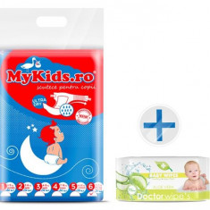 Scutece Copii Mykids New Junior+ 6 (12-30 Kg ) 46 Buc Cadou Servetele Umede Doctor Wipes Aloe Fara Capac - Scutece unica folosinta copii