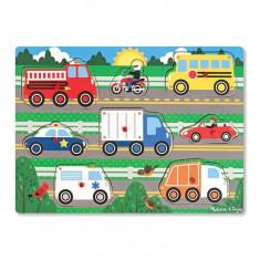 Puzzle Melissa & Doug Din Lemn Vehicule Cunoscute