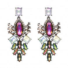 AC1261 Cercei lungi statement eleganti cu cristale sintetice multicolore