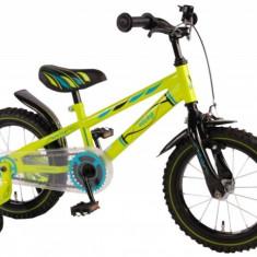 Bicicleta Copii Baieti 14 Inch Volare Bike Electric Green Cu Roti Ajutatoare Verde Neon