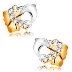 Cercei din aur galben de 14 K - contur inima, bicolora, cu zirconii si delfin - Cercei aur