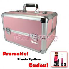 Geanta Produse Cosmetice din aluminium Fraulein38, culoarea Pastel Pink - Geanta cosmetice