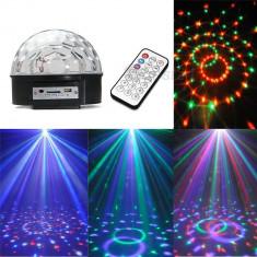 Glob Disco cu MP3 Player Jocuri de Lumini Telecomanda LED, Card, USB - Lumini club