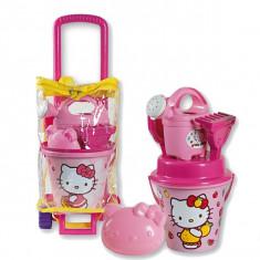 Troller Cu Ghiozdanel Hello Kitty Androni Pentru Copii Cu Jucarii Plaja Si Nisip Si Galetusa - Jucarie nisip