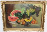 Tablou Fructe pe Masa, Nesemnat; Rama din lemn 80X60 cm;