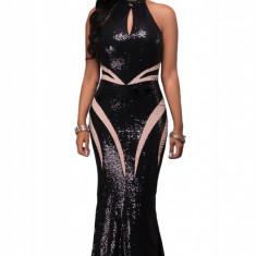H523-1 Rochie eleganta de ocazie decorata cu paiete negre - Rochie de seara, Marime: S/M, Negru, Maxi