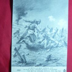 Ilustrata Primul Razboi Mondial-transee germana cucerita la Verdun, anii'20, Necirculata, Printata
