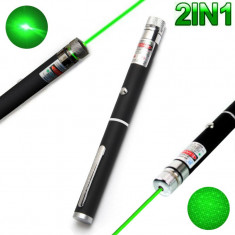 Laser Verde 2 in 1 High Power 10mW 532nm Green Beam Laser Pointer Projector Pen