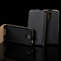 Husa Motorola Moto G Flip Case Inchidere Magnetica Neagra - Husa Telefon Motorola, Negru, Piele Ecologica, Cu clapeta, Toc