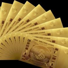 EUROPA - 1000000 EURO BANCNOTA FANTASY DIN POLYMER PLACATA CU AUR 24 K. - bancnota europa