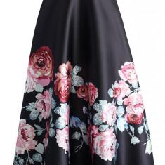 FS130-115 Fusta maxi cu talie inalta si print floral, Marime: S/M
