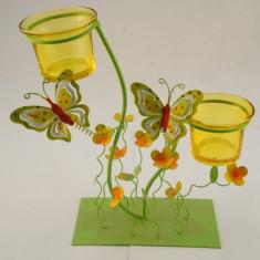 Sfesnic flori si fluturi metal 2 boluri sticla