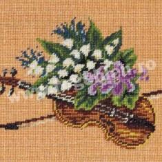 Vioara cu flori - goblen cu diagrama alb/negru - Broderie