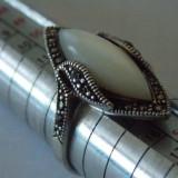 Inel argint cu sidef si marcasite -1916