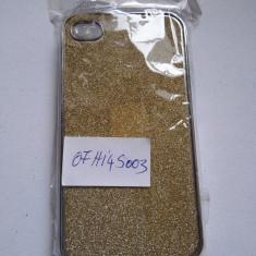 Husa iPhone 4 4s cu sclipici auriu noua - Bumper Telefon
