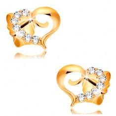 Cercei din aur galben 585 - contur inimă asimetrică cu zirconii - Cercei aur