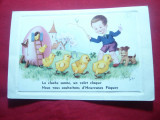 Ilustrata -Felicitare Paste -Copil ,caine, puisori in casuta ou ,semnata J.Palt, Circulata, Printata