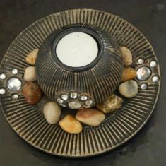 Suport pt lumanare cu pietre - Metal/Fonta