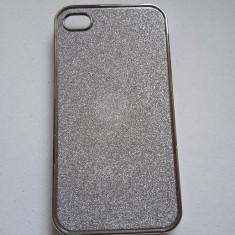 Husa iPhone 4 4s cu sclipici argintiu noua - Bumper Telefon
