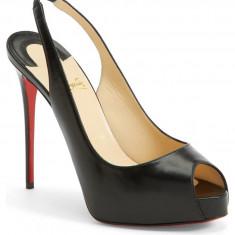 'Private Number' Pantofi CHRISTIAN LOUBOUTIN 120mm Autentici la Cutie 34.5 - Pantof dama Christian Louboutin, Culoare: Negru, Piele naturala