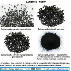 CARBUNE ACTIV GRANULAT, TURNAT, EXTRUDAT, PULBERE, IMPREGNAT, IN CARTUSE, ..