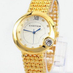 CEAS DAMA CARTIER-CALIBRE DE CARTIER 3 BIG DIAMOND GOLD EDITION-SUPERB-NOU 2017, Elegant, Quartz, Placat cu aur, Rezistent la apa
