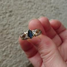 Inel aur galben cu safir si diamante - Inel diamant, Carataj aur: 14k