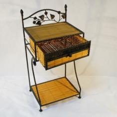 Dulapior cu sertar din bambus galben cu metal - Miniatura Figurina