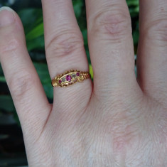 Inel din aur cu Rubine si diamante - Inel diamant, Carataj aur: 18k, Culoare: Galben