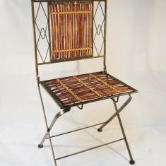 Scaun metal cu bambus rosu - Scaun gradina